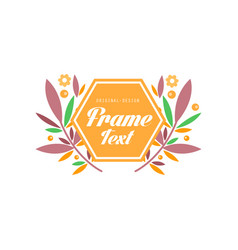 logo with frame and flowers elegant floral badge vector image