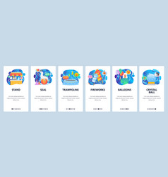 mobile app onboarding screens seal animal show vector image