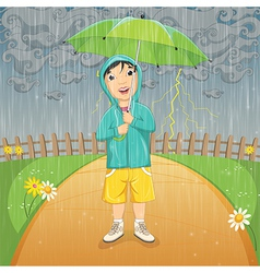 Of A Little Boy Under Umbrella vector image