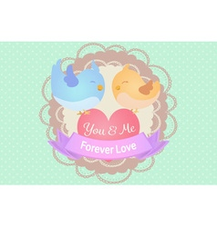 pastel cute blue and yellow love birds with heart vector image