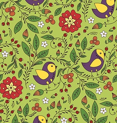 pattern with bird and flower vector image