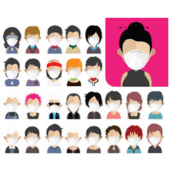 People avatars wearing a medical mask vector