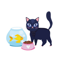 pet shop black cat fish kitten bowl food animal vector image