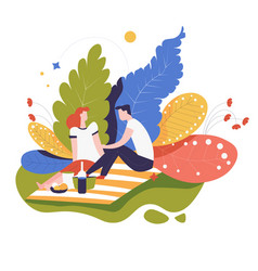 Picnic or date in park couple food on blanket vector