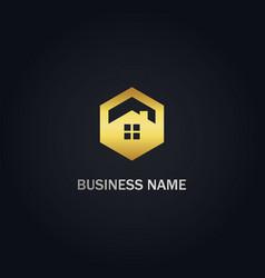 polygon home realty gold logo vector image