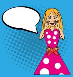 Pop art woman bubble speech vector