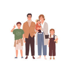 portrait happy family with parents and children vector image