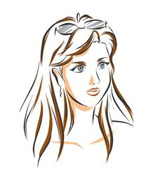 Portrait of cute brunette woman vector image