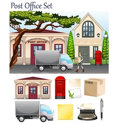 Post office and postal objects vector