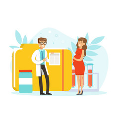pregnant woman having consultation at doctor in vector image