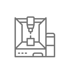 Professional 3d printer 3 dimensional model line vector