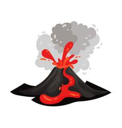Red lava flows through a black volcano vector