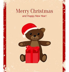 retro christmas card with teddy bear and present vector image