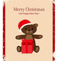 Retro Christmas card with teddy bear and present vector