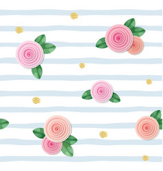Seamless pattern with roses and glitter polka dots vector