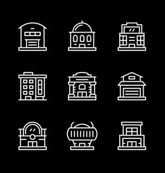 set line icons of buildings vector image