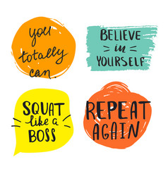 set motivational quotes about sport gym and vector image