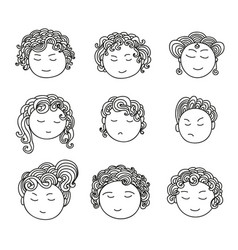 Set nine different cute hand drawn faces vector