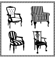 Set of antique chairs silhouet vector