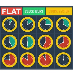 Set of vintage flat clocks vector