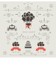 set vintage elements wedding invitation vector image