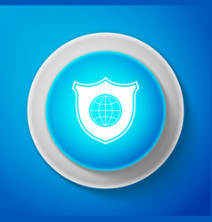 shield with world globe icon isolated on blue vector image
