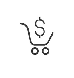 shopping cart with dollar symbol isolated on vector image