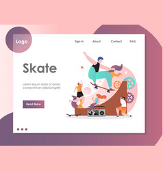 skate website landing page design template vector image