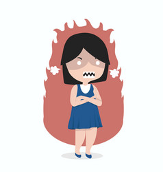 small girl angry standing with arms folded vector image
