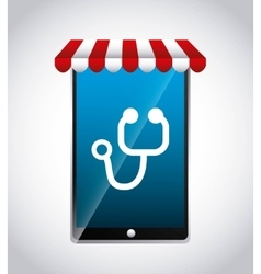 Smartphone and stethoscope icon Medical and vector image