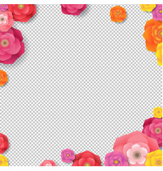 Spring border with flowers transparent background vector