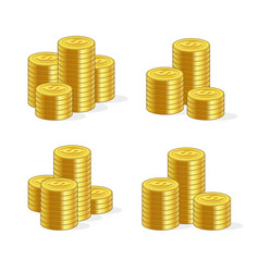 stacks gold coins set on white background vector image