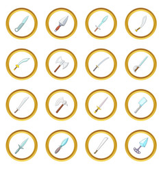Steel arms icons circle vector