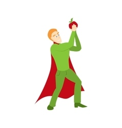Superhero with apple icon vector