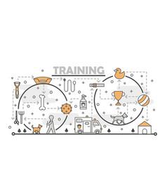 Thin line art dog training poster banner vector
