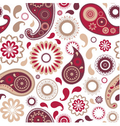 Traditional oriental paisley seamless pattern with vector