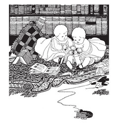 Twins baby sitting between books on a blanket and vector
