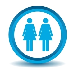 Two women icon blue 3D vector image
