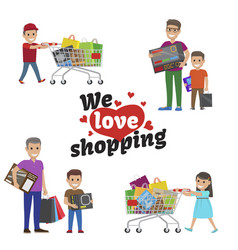 We love shopping idea set of people with articles vector