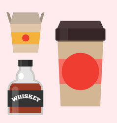 whiskey bottle glass liquor scotch beverage whisky vector image