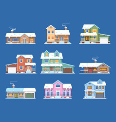 winter houses homes in snow cottages and vector image