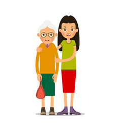 young girl helps an old woman vector image