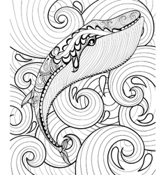 zentangle whale in sea print for adult vector image