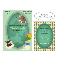 Alice in wonderland mad tea party birthday invite vector