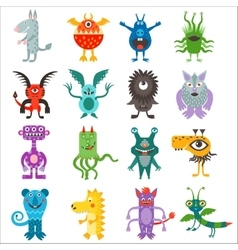 Cartoon cute color monsters aliens collection vector image vector image