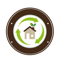 color circular frame with eco home vector image