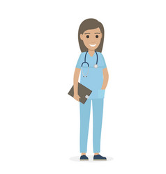 joyful physician with stethoscope and black tablet vector image