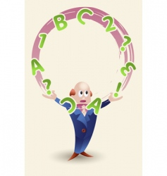 man juggling with letters vector image vector image