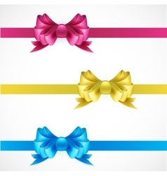 Set of gift bows with ribbons Pink gold and blue vector image