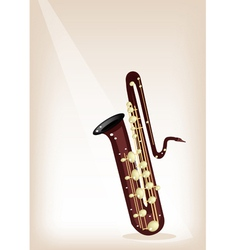A Musical Bass Saxophone on Brown Stage Background vector image